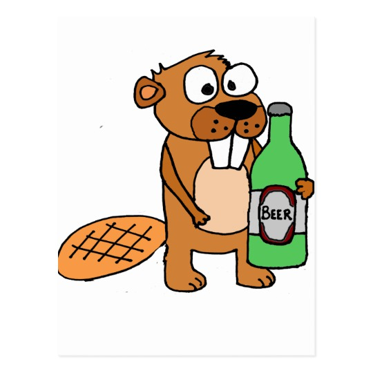 Beaver clipart with a beer png transparent download Cool Beaver Drinking Beer Cartoon Postcard png transparent download