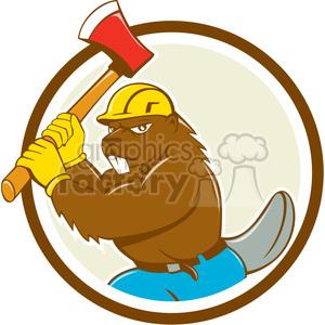 Beaver logo clipart graphic freeuse library beaver wielding axe CIRC clipart. Royalty-free clipart # 394591 graphic freeuse library