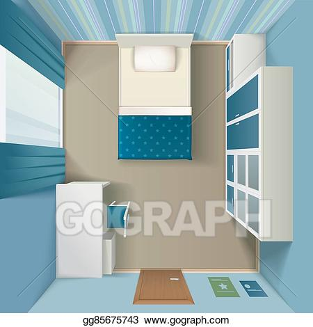 Bed top view clipart graphic EPS Vector - Modern bedroom interior realistic top view . Stock ... graphic