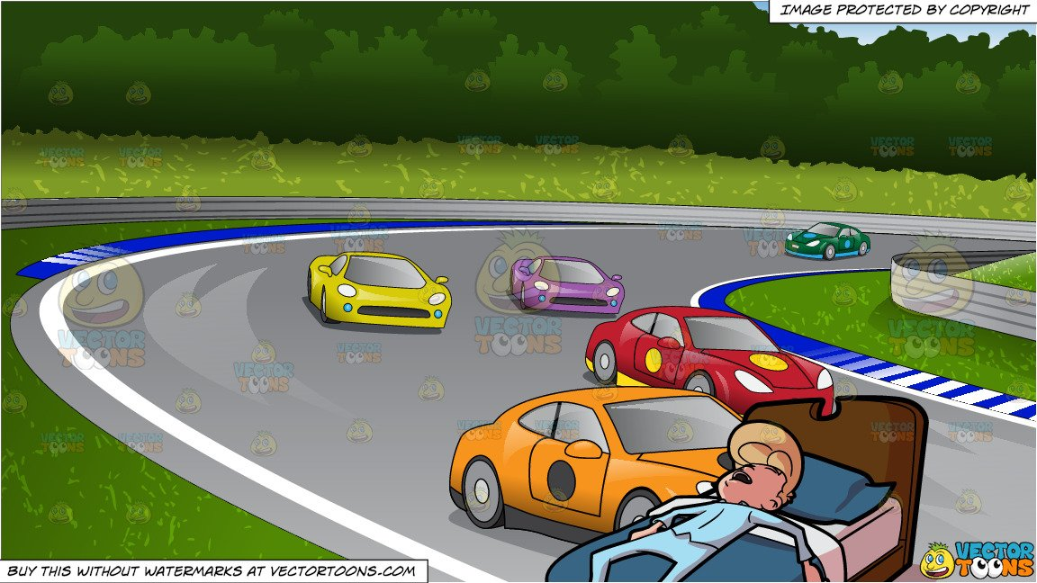 Bed race clipart vector free stock A Drained And Worn Out Man Sleeping In His Bed and Car Race Track Background vector free stock
