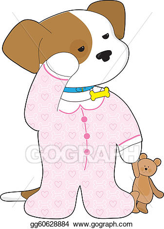 Bedtime animal clipart transparent download Vector Clipart - Cute puppy pajamas. Vector Illustration gg60628884 ... transparent download