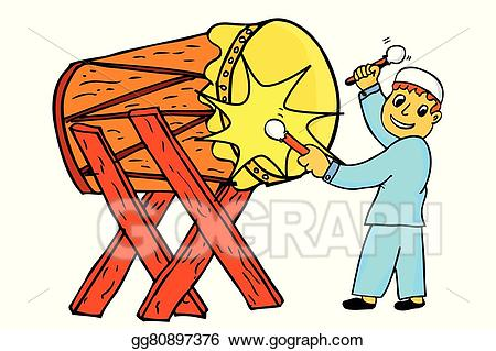 Bedug clipart graphic library stock Vector Art - Boy - hit the bedug. Clipart Drawing gg80897376 - GoGraph graphic library stock