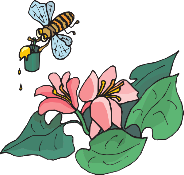 Bee on flower clipart picture black and white stock Bee With Pollen Clip Art at Clker.com - vector clip art online ... picture black and white stock