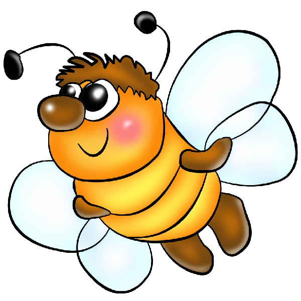 Honeybee with book clipart picture transparent Funny PNG Format Cartoon Clip Art Honey Bees On A Transparent ... picture transparent