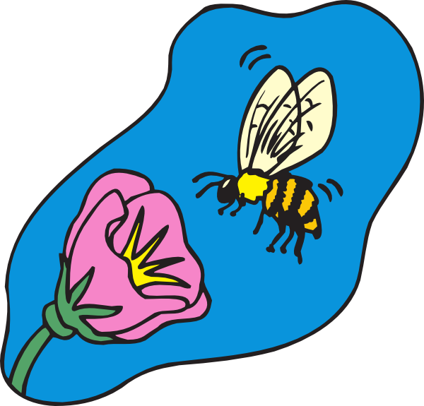 Bee on flower clipart graphic freeuse library Bee With Flower Clip Art at Clker.com - vector clip art online ... graphic freeuse library