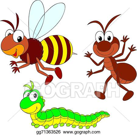 Bee ant clipart jpg Vector Stock - Bee, ant and caterpillar. Clipart Illustration ... jpg