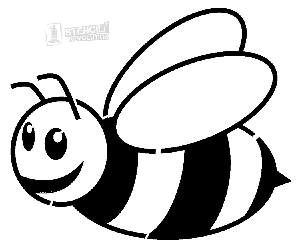 Cartoon honey bee clipart black and white png library Bee black and white photos of bumble bee stencil black and white ... png library