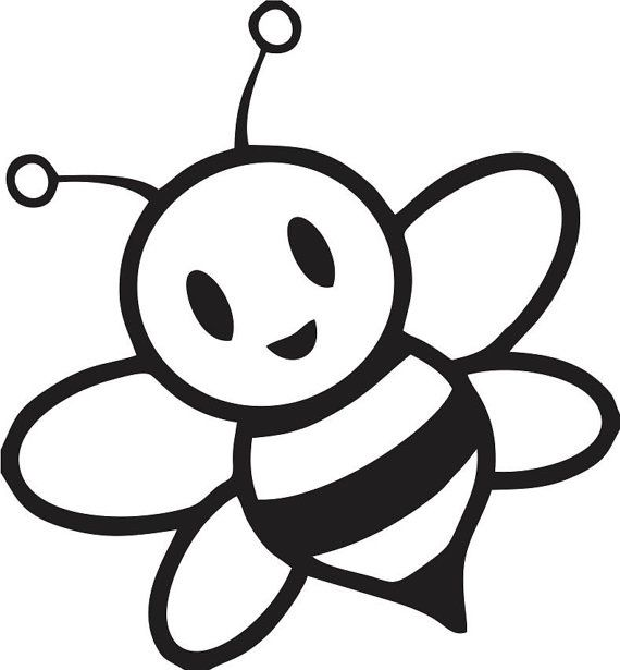 Bee clipart black and white free jpg library stock Pin by betty burchell on Projects to Try | Bee coloring pages ... jpg library stock