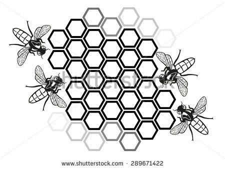Bee clipart black and white with honeycomb svg royalty free library Flat Honey Bee in Honeycomb Illustration Silhouette. Editable Clip ... svg royalty free library