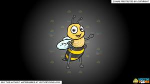 Bee clipart grey svg free Clipart: A Friendly And Welcoming Bee on a Grey And Black Gradient  Background svg free