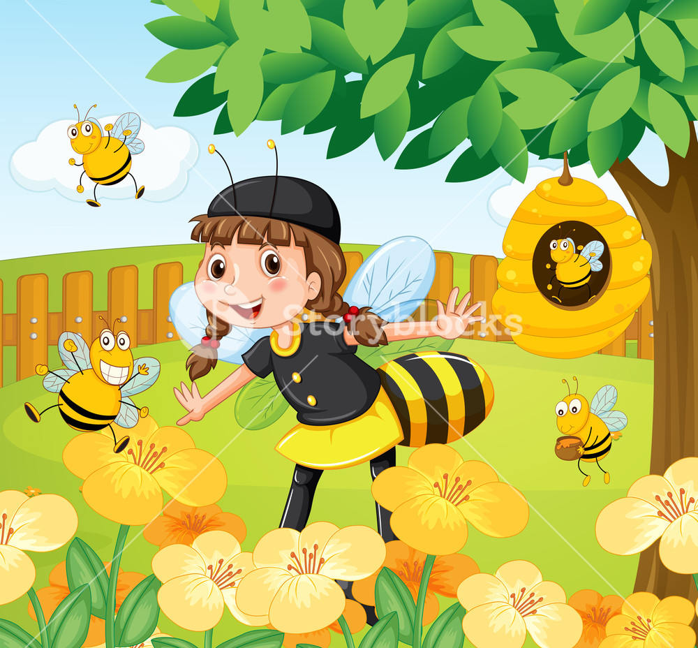 Bee clipart standing vector freeuse stock Girl in bee costume standing in a garden full of bees and flowers ... vector freeuse stock