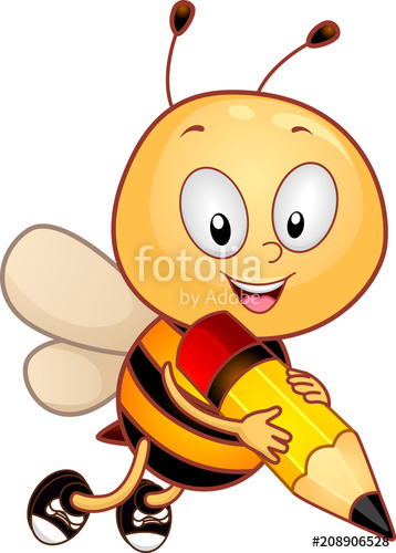 Bee clipart writing clipart black and white Mascot Spelling Bee Write Illustration\