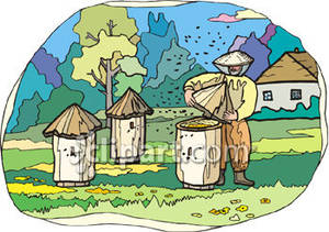 Bee farm clipart image transparent library Bee Farmer Checking Bee Hives - Royalty Free Clipart Picture image transparent library