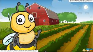Bee farm clipart clip library A Seated Adorable Bee and Farm Field And Barn Background clip library
