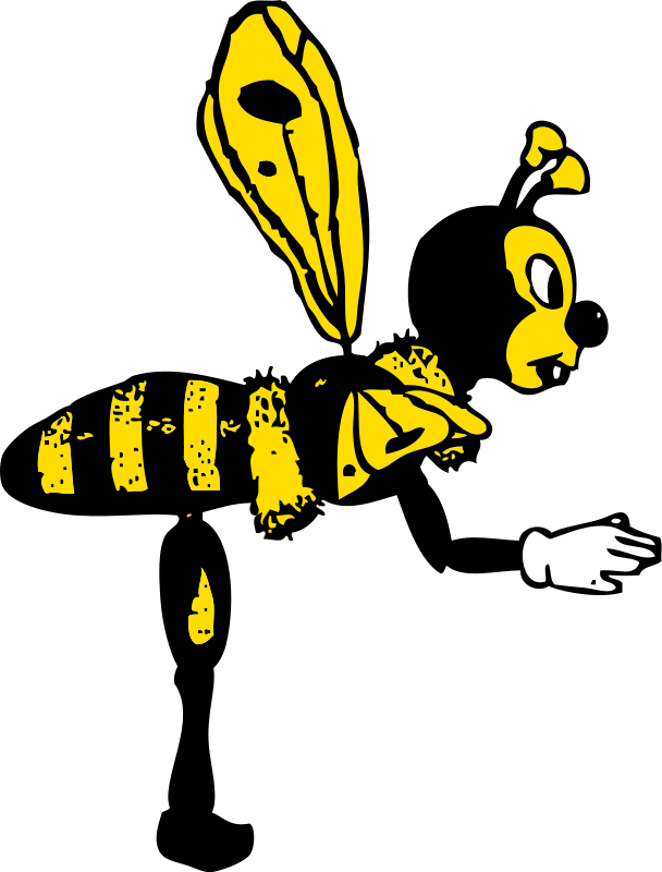 Flower with bee clipart picture black and white library Bee | Free Stock Photo | Illustration of a cartoon bee | # 14193 picture black and white library