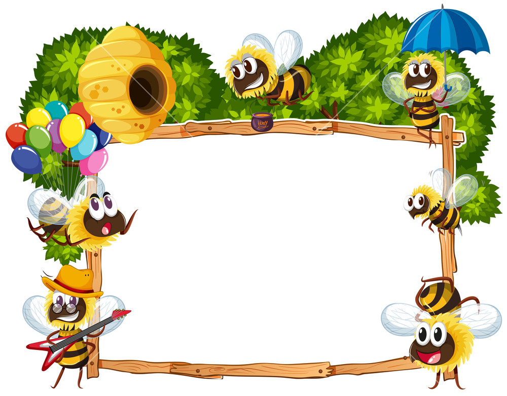 Bee pictures clipart boarders jpg library stock Border template with bees flying Royalty-Free Stock Image ... jpg library stock