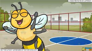 Bee playing basketball clipart clip black and white library An Excited And Overjoyed Bee and Outdoor Basketball Court Background clip black and white library