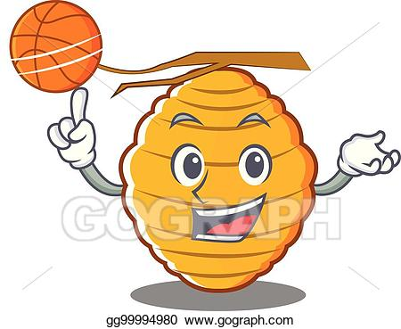 Bee playing basketball clipart black and white library EPS Vector - With basketball bee hive character cartoon. Stock ... black and white library