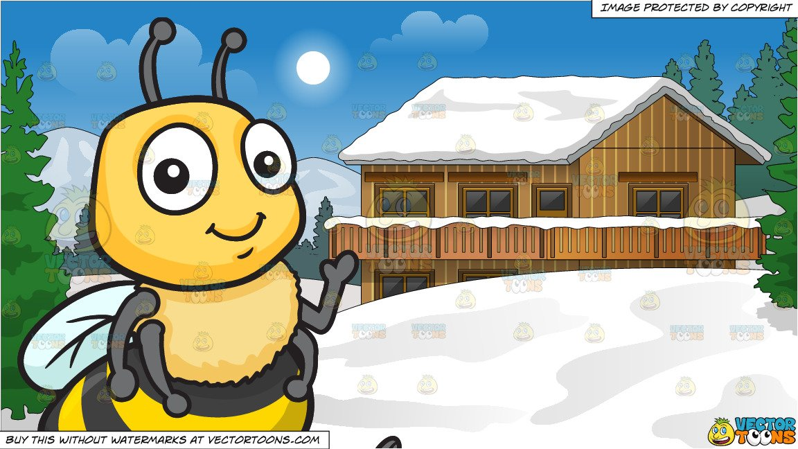 Bee snow clipart image transparent library A Seated Adorable Bee and Snow Covered Ski Chalet Background image transparent library