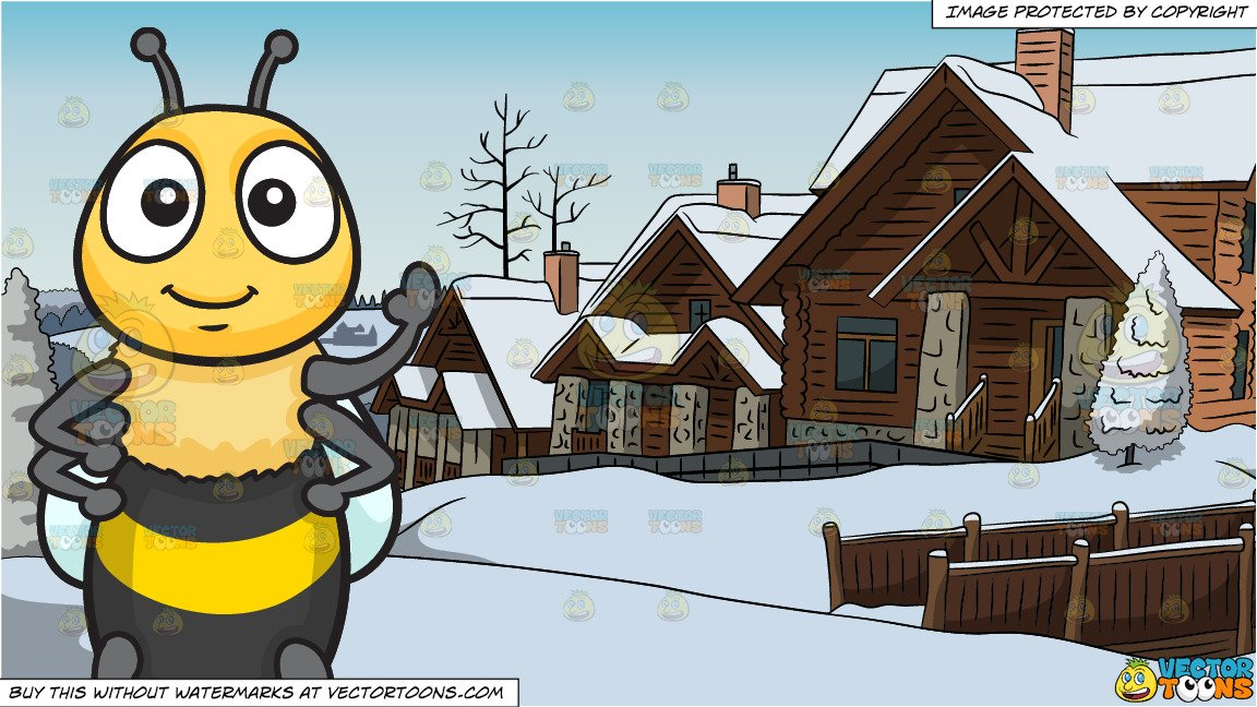 Bee snow clipart jpg transparent download A Welcoming Happy Bee and Alpine Ski Cottages Background jpg transparent download
