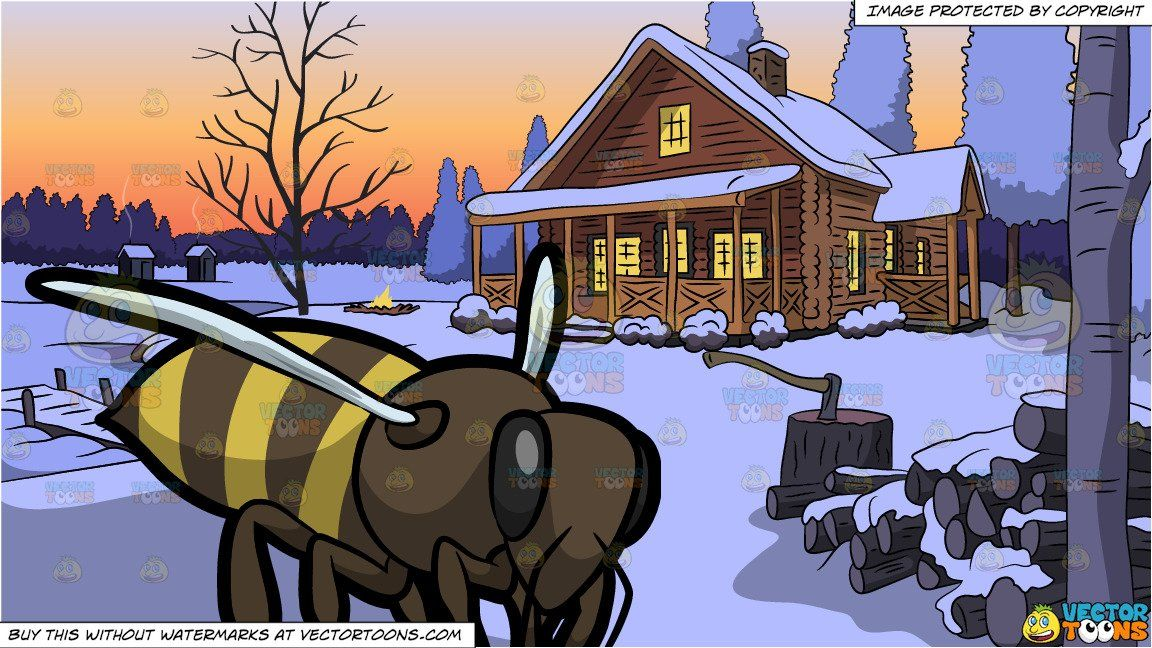 Bee snow clipart svg freeuse download clipart #cartoon A Buzzing Bee and Winter Lake House Background ... svg freeuse download