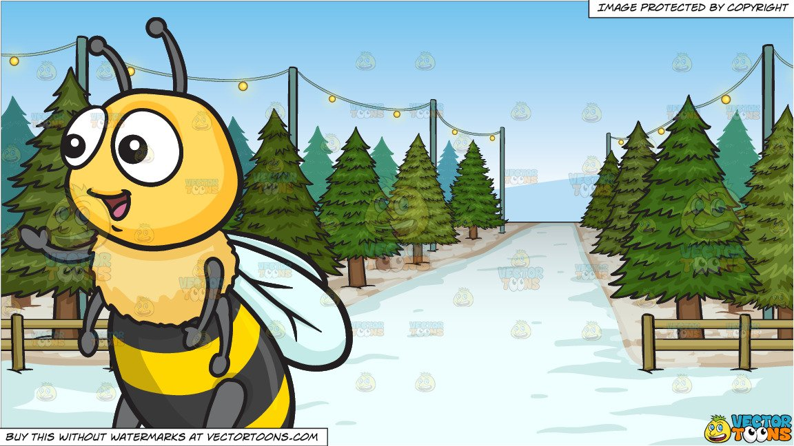 Bee snow clipart picture library library A Warm And Friendly Cute Bee and Christmas Tree Lot Background picture library library