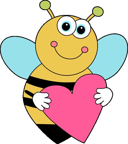 Bee valentine clipart clip black and white Bee Border Clip Art | Cartoon Valentine\'s Day Bee - cute cartoon bee ... clip black and white