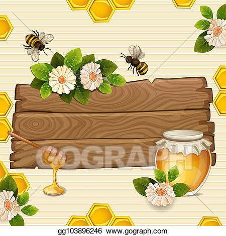 Bee with a banner clipart clip art royalty free Vector Illustration - Beautiful background with bees, honey, jar ... clip art royalty free