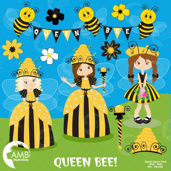 Bee with a banner clipart png black and white stock Queen Bee clipart, Fairy clipart, Princess clipart, Bumble bee clip ... png black and white stock