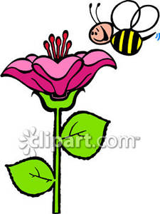 Bee with a rose clipart banner stock Smiling Bee With A Big Flower - Royalty Free Clipart Picture banner stock
