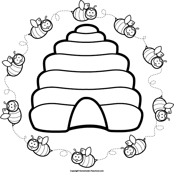 Bee with flower clipart black and white banner transparent library Beehive clipart etc de flor | Jar Crafts&Gifts | Pinterest | Bee ... banner transparent library