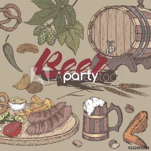 Beef & beer party clipart banner royalty free Beer party color template with beer keg and mug, hop branch, wheat ... banner royalty free