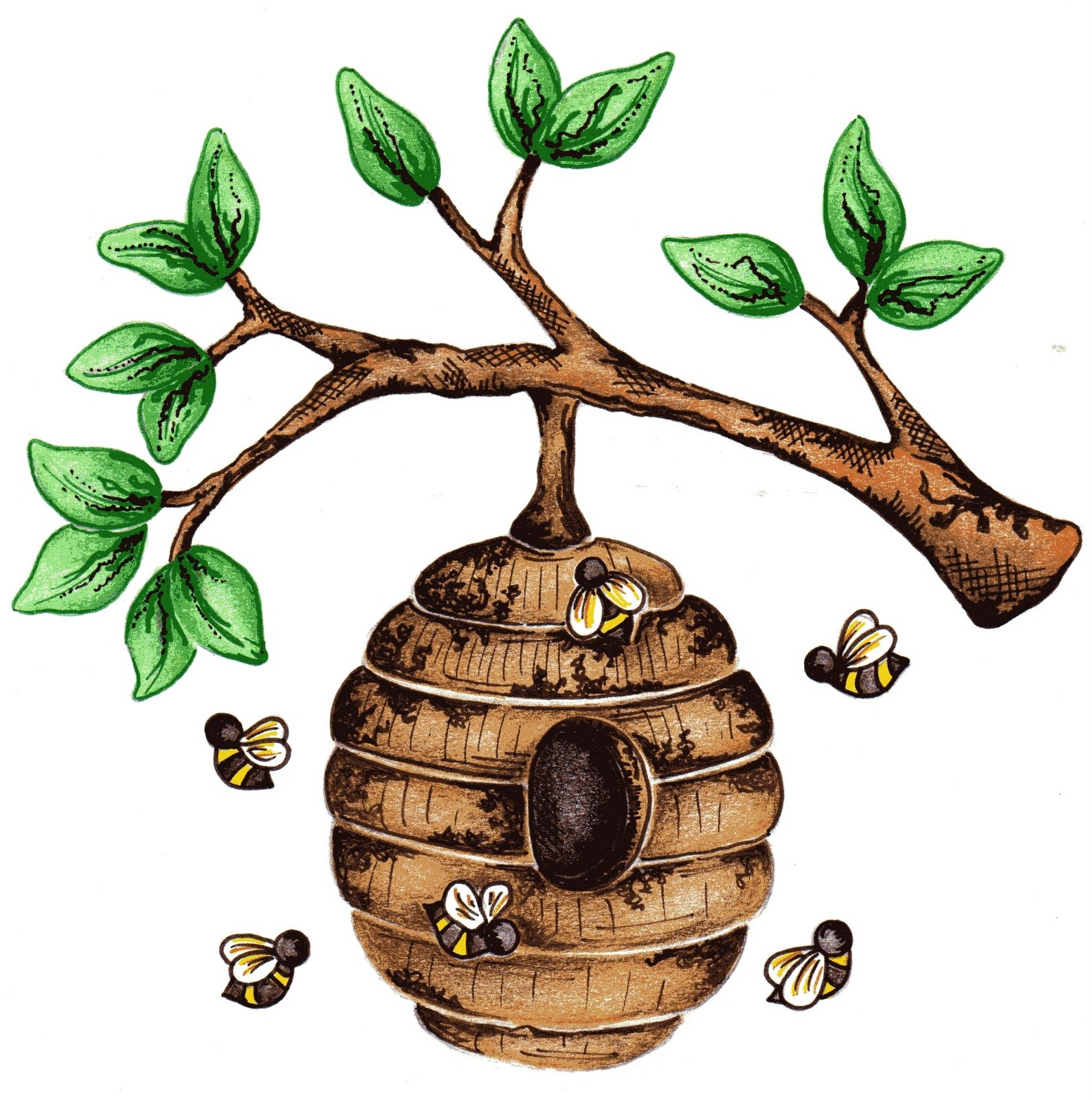 Beehive from tree clipart graphic free download Bee hive in tree clipart - ClipartFest graphic free download