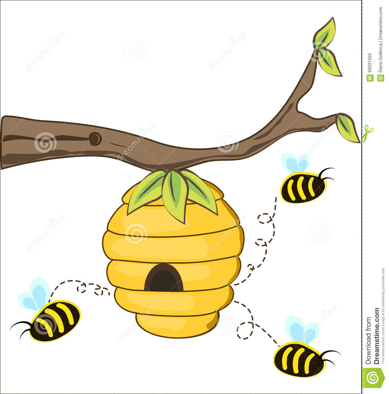 Beehive from tree clipart picture royalty free library Beehive Tree Branch Stock Illustrations – 60 Beehive Tree Branch ... picture royalty free library