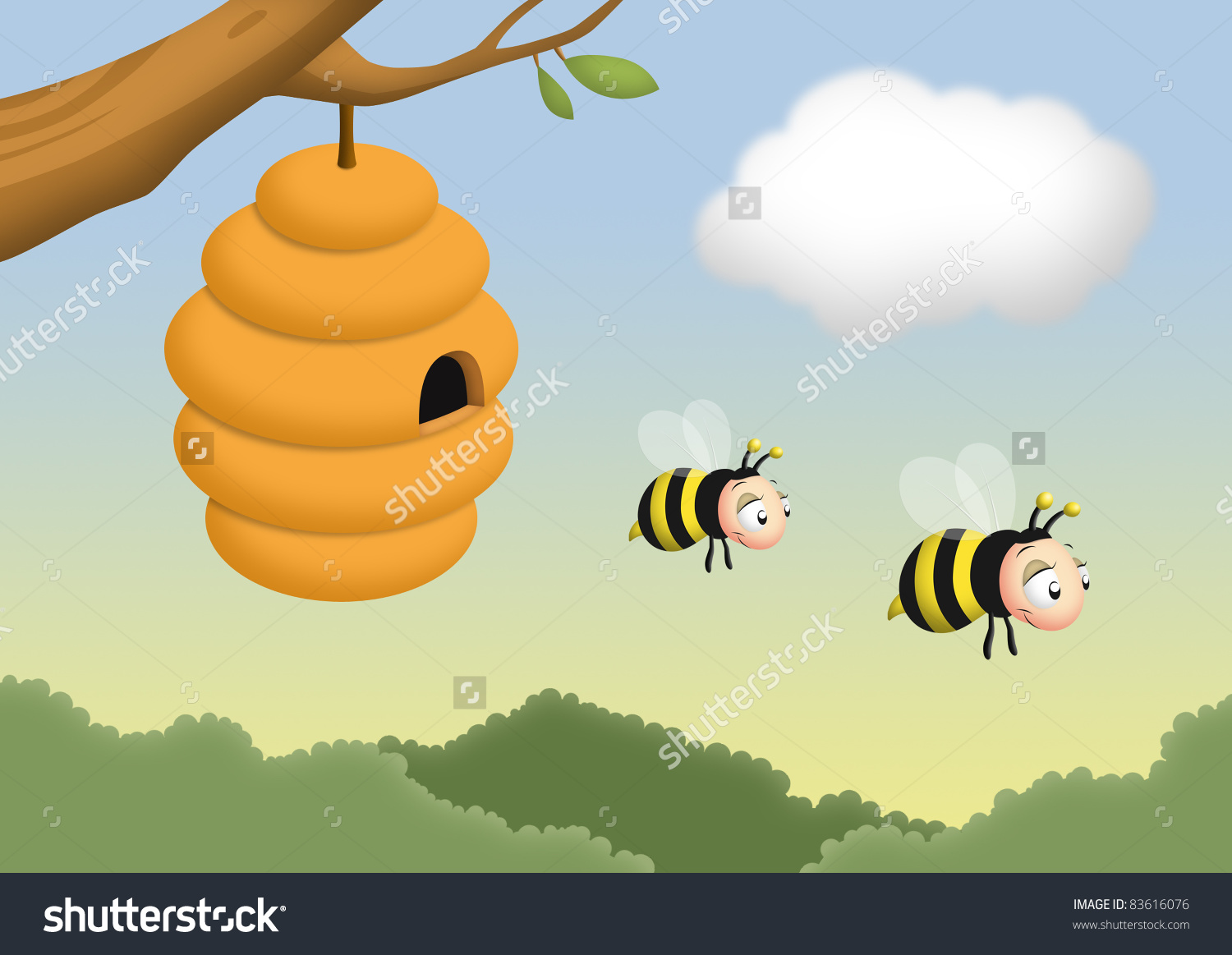 Beehive from tree clipart png freeuse stock Beehive on a tree clipart - ClipartFox png freeuse stock