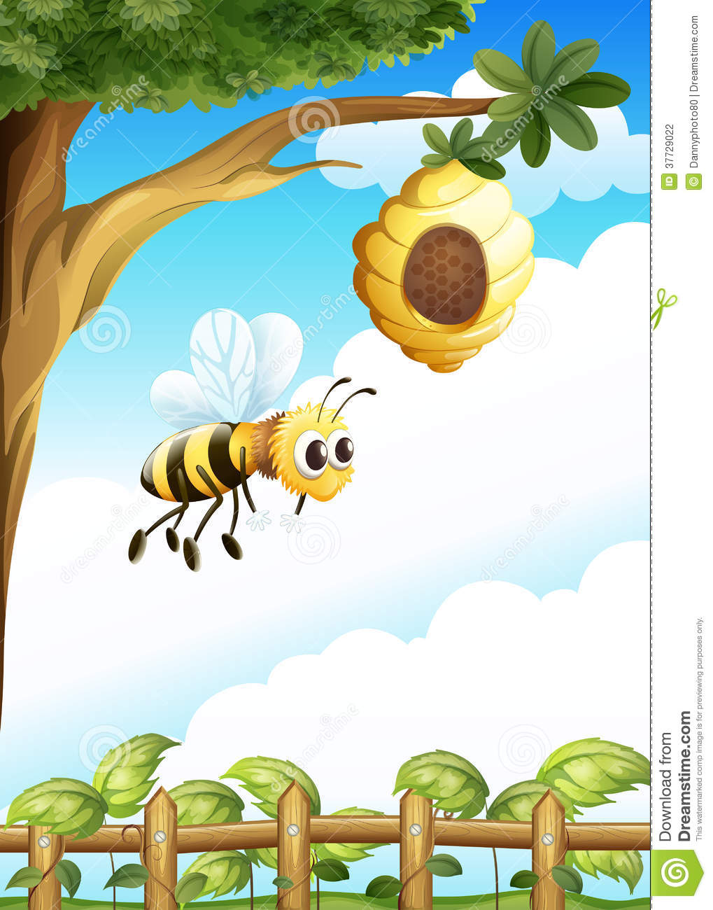 Beehive from tree clipart vector stock A Tree Near The Fence With A Beehive And A Bee Stock Photography ... vector stock