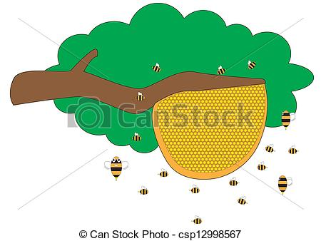 Beehive from tree clipart vector transparent library Clip Art Vector of Beehive - Group of bee to protect hive ... vector transparent library