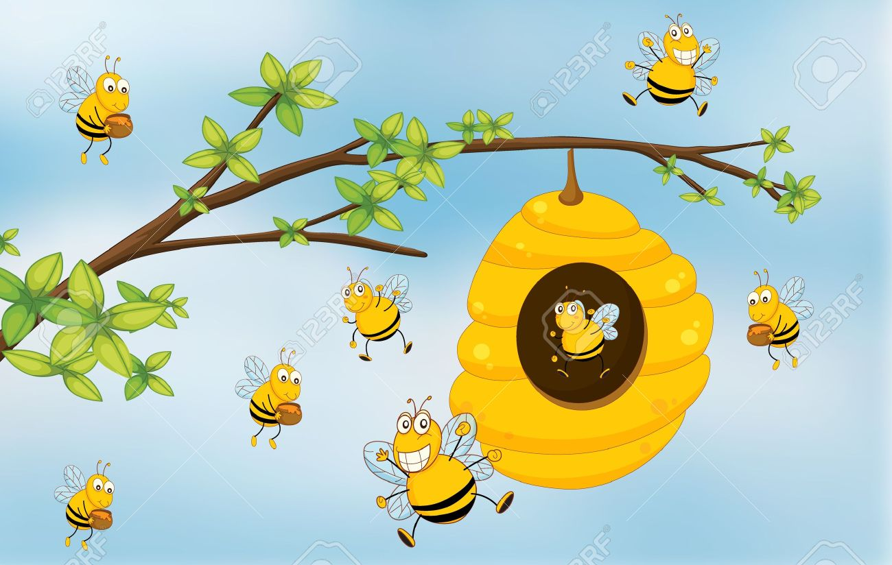 Beehive from tree clipart vector royalty free library Honey bee hive in tree clipart - ClipartFest vector royalty free library