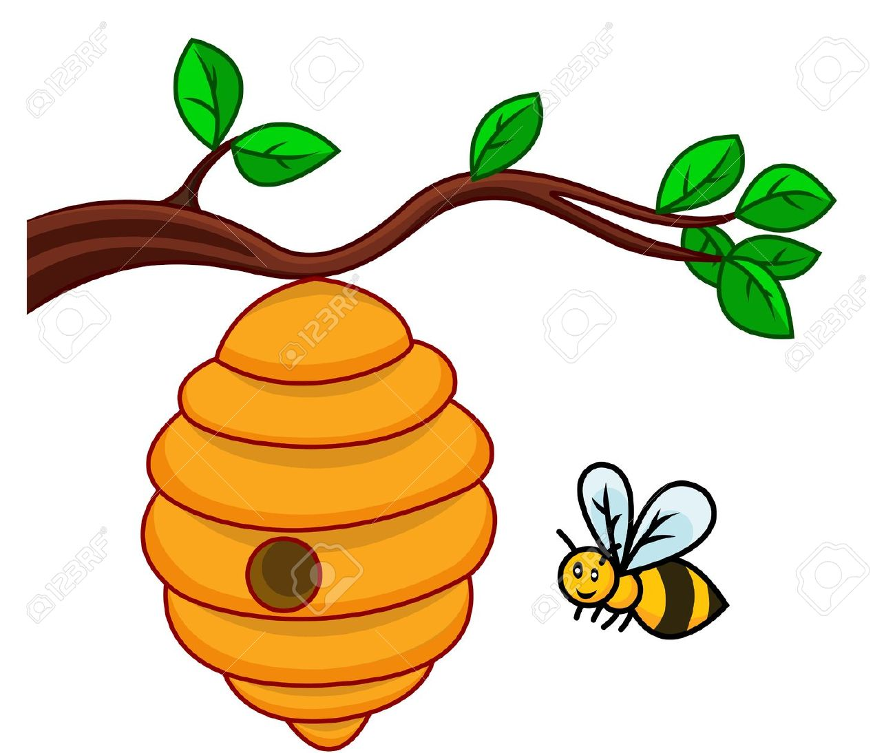 Beehive from tree clipart clipart freeuse Bee hive in tree clipart - ClipartFest clipart freeuse