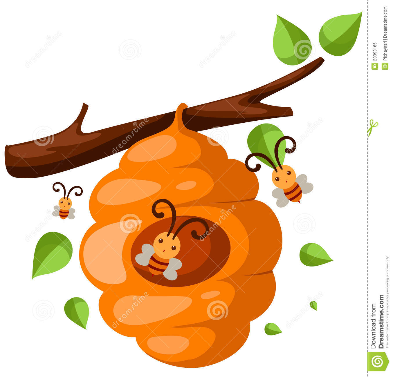 Beehive from tree clipart picture black and white download Beehive Branch Royalty Free Stock Image - Image: 20393166 picture black and white download