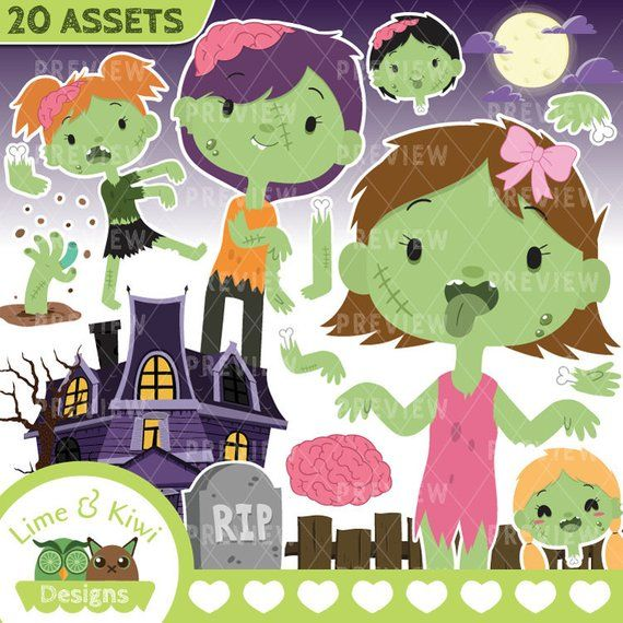 Been clipart png royalty free download Halloween Zombies Girls Clipart | Instant Download Vector Art ... png royalty free download