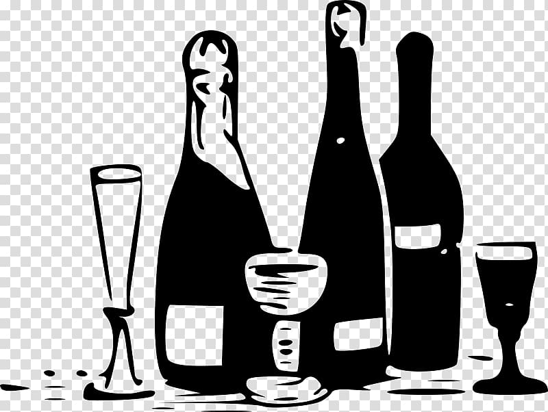 Beer and wine clipart black and white png royalty free Wine Bottle Beer Alcoholic drink, drinks transparent background PNG ... png royalty free