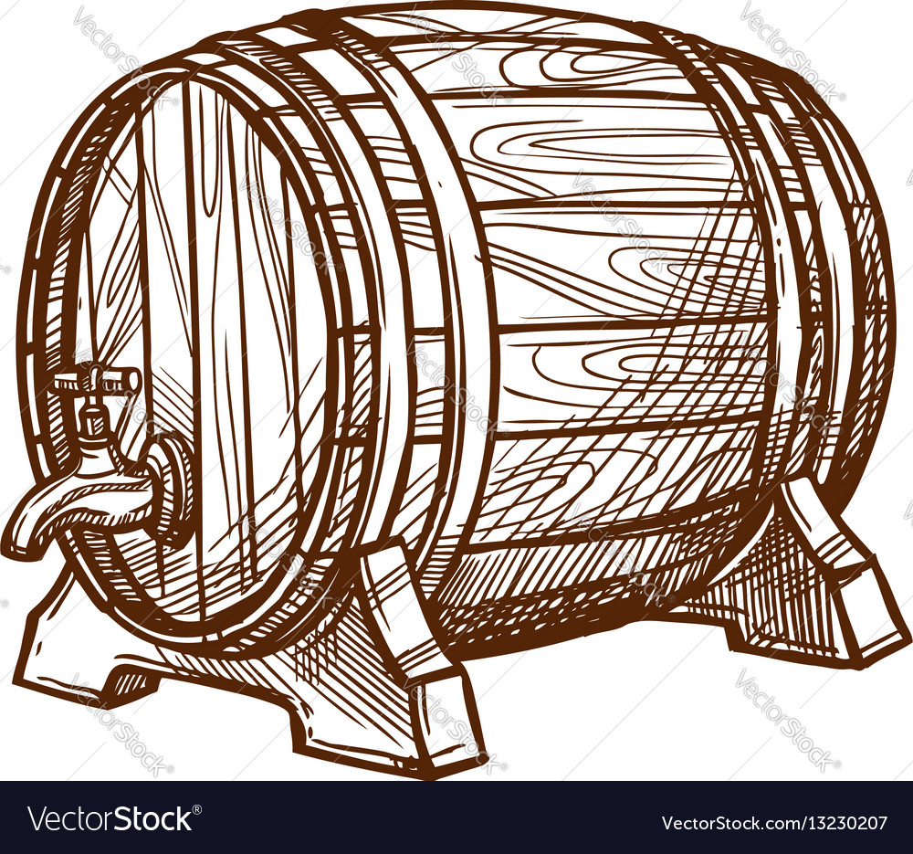 Beer barrel clipart drawing jpg Wooden beer barrel sketch icon jpg