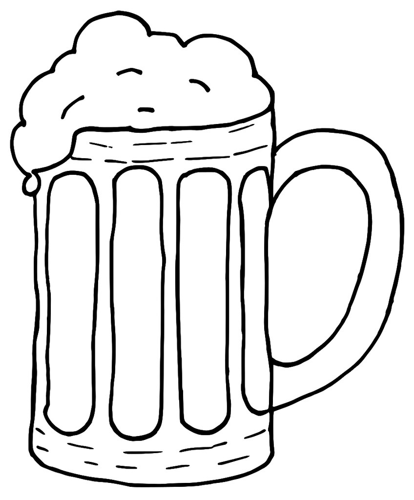 Beer stein clipart black and white