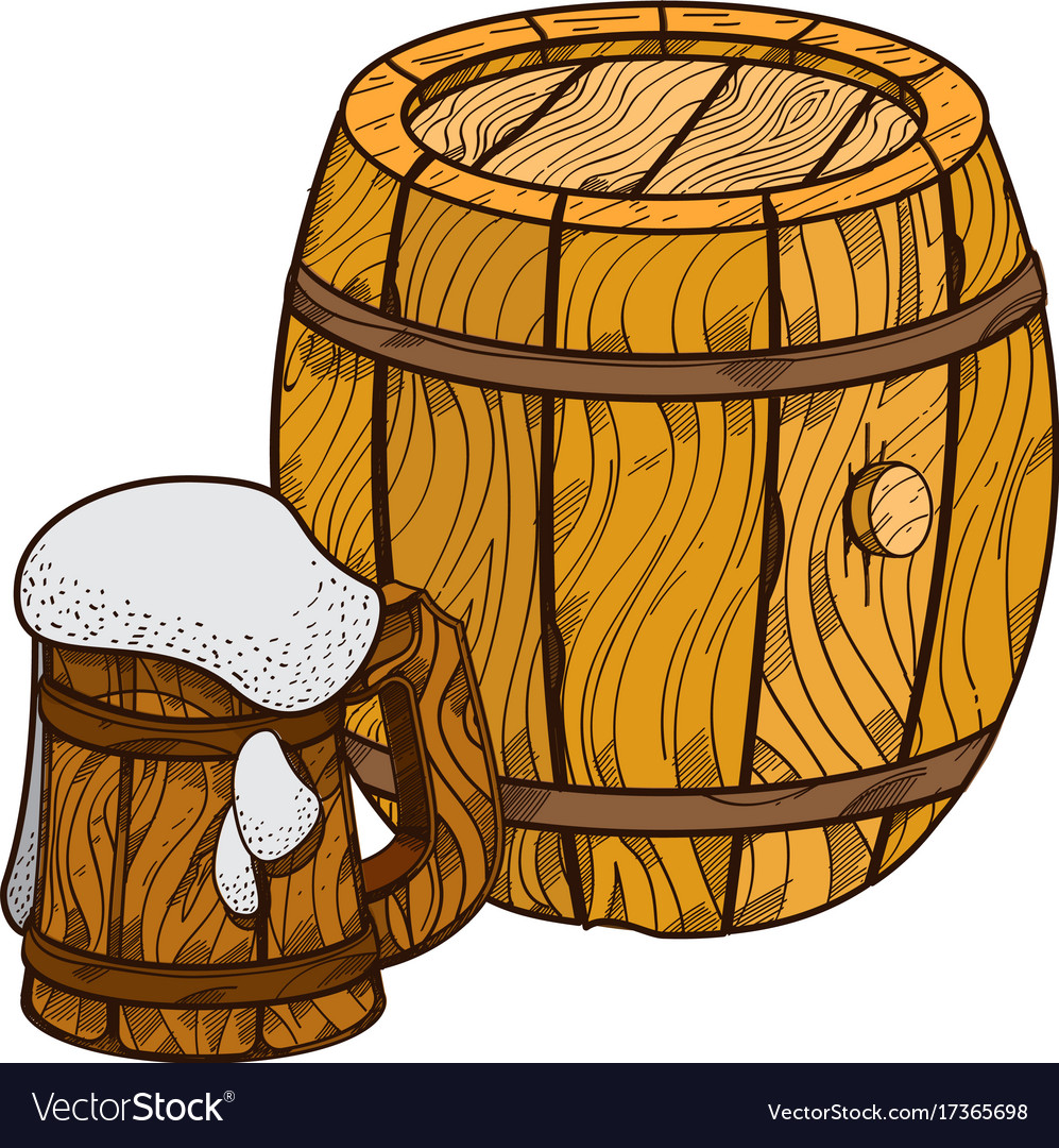 Beer cask clipart clip stock Wooden beer keg and mug of beer clip stock