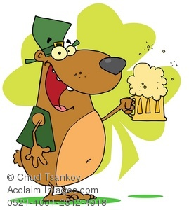 Beer dog clipart png black and white download Smiling Irish Dog With a Shamrock and Pint of Beer Clipart Illustration png black and white download
