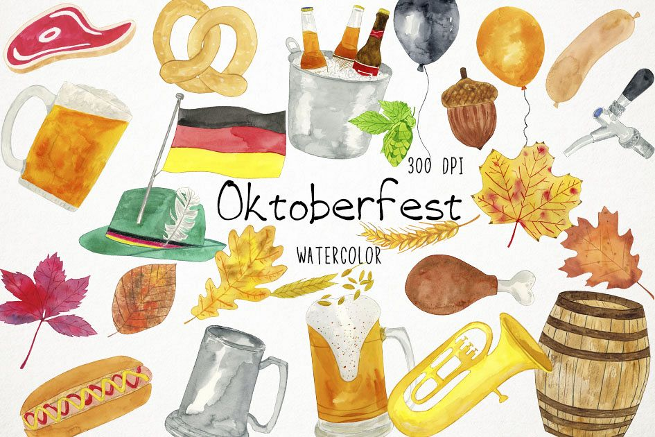 Beer in shoe clipart svg royalty free download Watercolor Oktoberfest Clipart, Oktoberfest Clip Art, Beer svg royalty free download