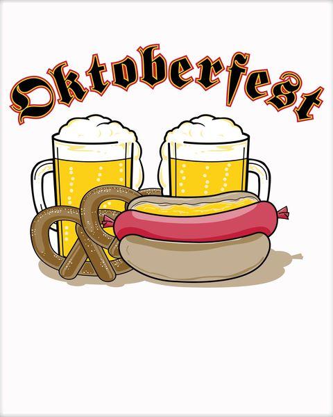 Beer pretzel brat clipart vector free download Oktoberfest Beer Pretzel Hot Dog Poster | TeeShirtPalace vector free download