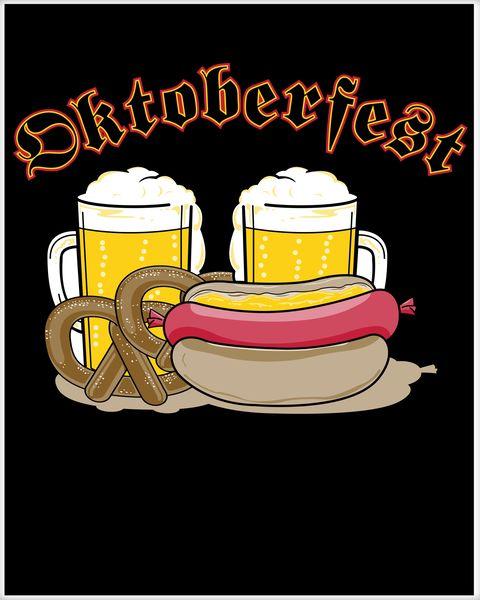 Beer pretzel brat clipart banner free library Oktoberfest Beer Pretzel Hot Dog Poster | TeeShirtPalace banner free library