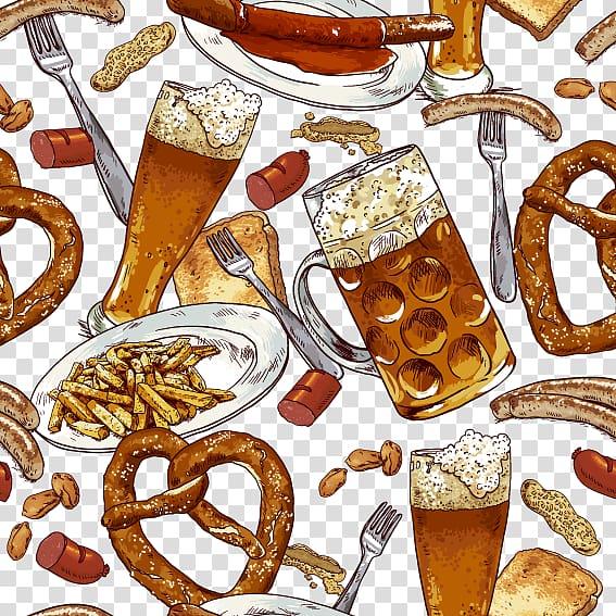 Beer pretzel brat clipart clip transparent download Beer Sausage Hot dog Oktoberfest Pretzel, Hot Dog Beer transparent ... clip transparent download